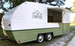 Campfired Shasta trailer